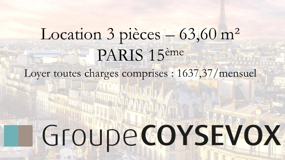 Location 3 pièces PARIS 15ème